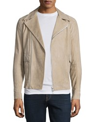 Helmut Lang Distressed Nubuck Leather Jacket Dark Sand Dksand