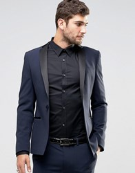 Asos Super Skinny Tuxedo Suit Jacket In Navy Navy