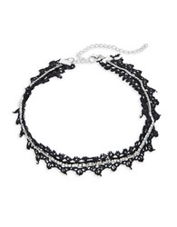 Design Lab Lord And Taylor Rhinestone Lace Choker Necklace Silver