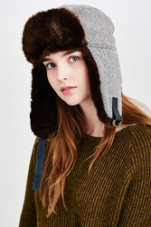 Urban Outfitters Menswear Fur Trapper Hat Black