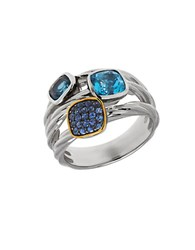 Lord And Taylor Multi Color Topaz Sterling Silver 14K Yellow Gold Ring Blue