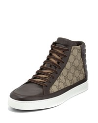 Gucci Gg Supreme Canvas High Top Sneaker Brown Size 12G 13Us
