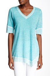 Cullen Elbow Sleeve Waffle V Linen Blend Tunic Blue