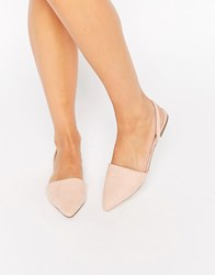 Asos Lainey Pointed Sling Back Ballet Flats Nude Beige