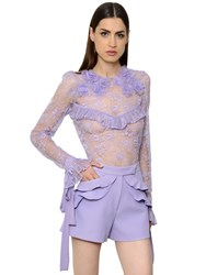Elie Saab Ruffled Lace Top With Flowers