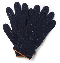 Leather Trimmed Donegal Wool Gloves Blue
