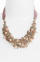 Nina 'Melaney' Ribbon And Cluster Bib Necklace Blush Pearl Clear Crystal