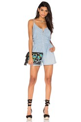 7 For All Mankind Zip Front Romper Blue