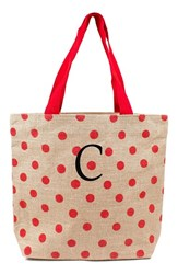 Cathy's Concepts Personalized Polka Dot Jute Tote Red Red C