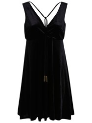 Miss Selfridge Velvet Babydoll Dress Black