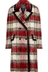 Burberry Prorsum Tartan Wool Blend Coat Red