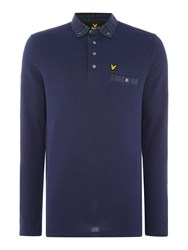 Lyle And Scott Long Sleeve Woven Check Collar Polo Shirt Navy