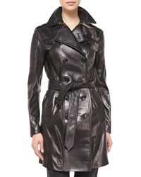 Burberry Double Breasted Leather Trenchcoat Black