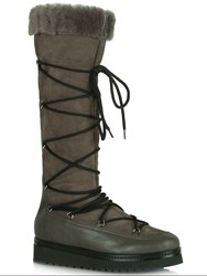Daniel Noble Shearling Lined Knee High Boots Grey