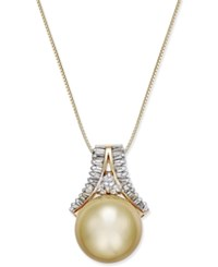 Macy's Cultured Golden South Sea Pearl 12Mm And Diamond 1 3 Ct. T.W. Pendant Necklace In 14K Gold Yellow