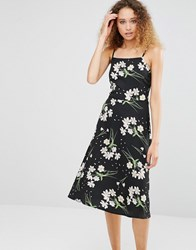 Daisy Street Midi Dress With Lace Up Back In Floral Print Black