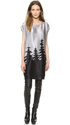 Tess Giberson Forest Print Cocoon Dress Silver Black