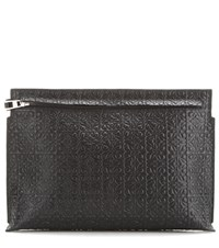Loewe T Pouch Embossed Leather Clutch Black