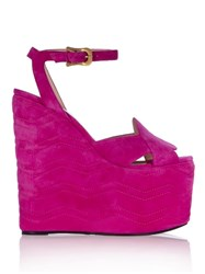 Gucci Sally Suede Wedge Sandals Pink