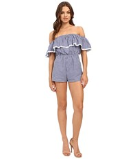 6 Shore Road Seaside Romper Cover Up Blue Gingham Women's Jumpsuit And Rompers One Piece