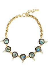 Elizabeth Cole Gold Plated Mother Of Pearl And Crystal Bib Necklace Blue