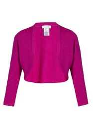 Oscar De La Renta Cashmere And Silk Blend Cropped Cardigan Pink