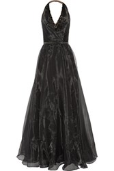 Mikael Aghal Beaded Organza Halterneck Gown Black