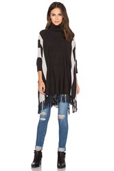 525 America Stripe Turtleneck Fringe Poncho Charcoal