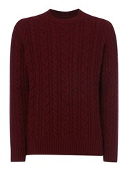 Criminal Rufus Crew Neck Knitted Jumper Burgundy