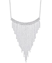 Inc International Concepts Silver Tone Pave Fringe Statement Necklace Only At Macy's