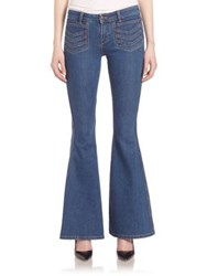 Free People Stella High Rise Flared Jeans Blue Combo