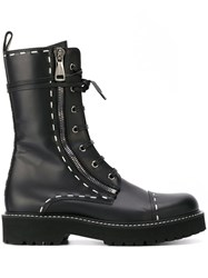 Dolce And Gabbana Stitch Detailed Combat Boots Black