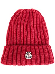 Moncler Ribbed Beanie Hat Pink And Purple