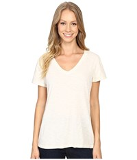 Dylan By True Grit Gauzy Cotton Short Sleeve V Neck Tee Chalk Women's T Shirt White