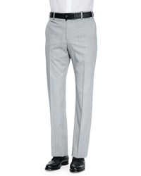 Zanella Woven Fine Striped Wool Trousers Pearl White Stripe Men's