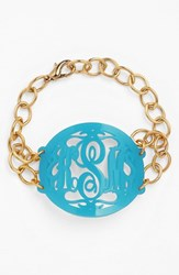 Women's Moon And Lola 'Annabel' Large Oval Personalized Monogram Bracelet Turquoise Gold Nordstrom Exclusive