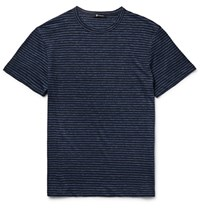 Alexander Wang Slim Fit Melange Striped Linen T Shirt Storm Blue