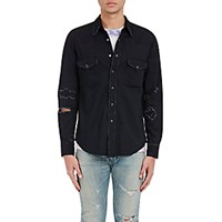 Saint Laurent Men's Distressed Denim Shirt Black Blue Black Blue