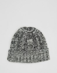 Asos Cable Fisherman Beanie In Grey Twist Grey