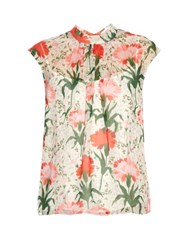 Erdem Iona Carnation Print Voile Top Red White