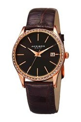 Akribos Xxiv Women's Swarovski Crystal Date Indicator Strap Watch Black