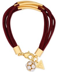 Guess Gold Tone Faux Suede Multi Row Bracelet Gold Burgundy