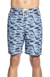 Tailor Vintage Reversible Whale Print Swim Trunks Woody Blue