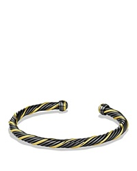 David Yurman Black And Gold Cable Bracelet Black Yellow
