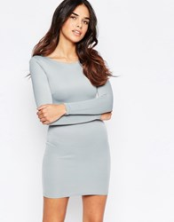 Oh My Love Long Sleeve Scuba Mini Dress Grey
