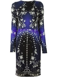 Roberto Cavalli Star Print Long Sleeve Knit Dress Blue
