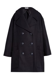 J.W.Anderson Double Breasted Oversized Wool Blend Pea Coat Navy