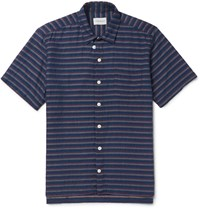 Oliver Spencer Slim Fit Striped Cotton Shirt Blue