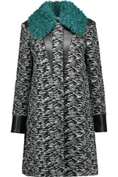 Just Cavalli Leather And Shearling Trimmed Boucle Tweed Coat Black