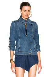 Anthony Vaccarello Denim Jacket In Blue